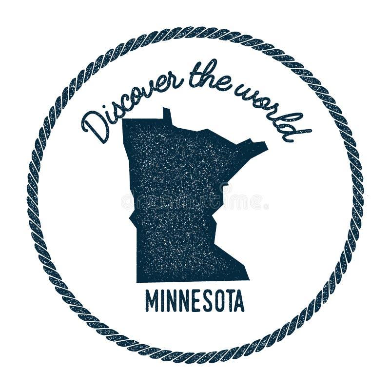 El mapa de Minnesota en vintage descubre el mundo stock de ilustración