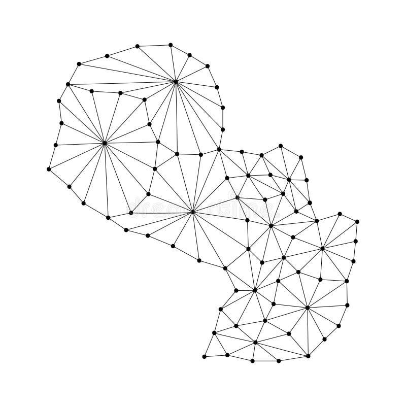 El mapa de Paraguay del mosaico poligonal alinea la red, rayos, ejemplo de los puntos ilustración del vector