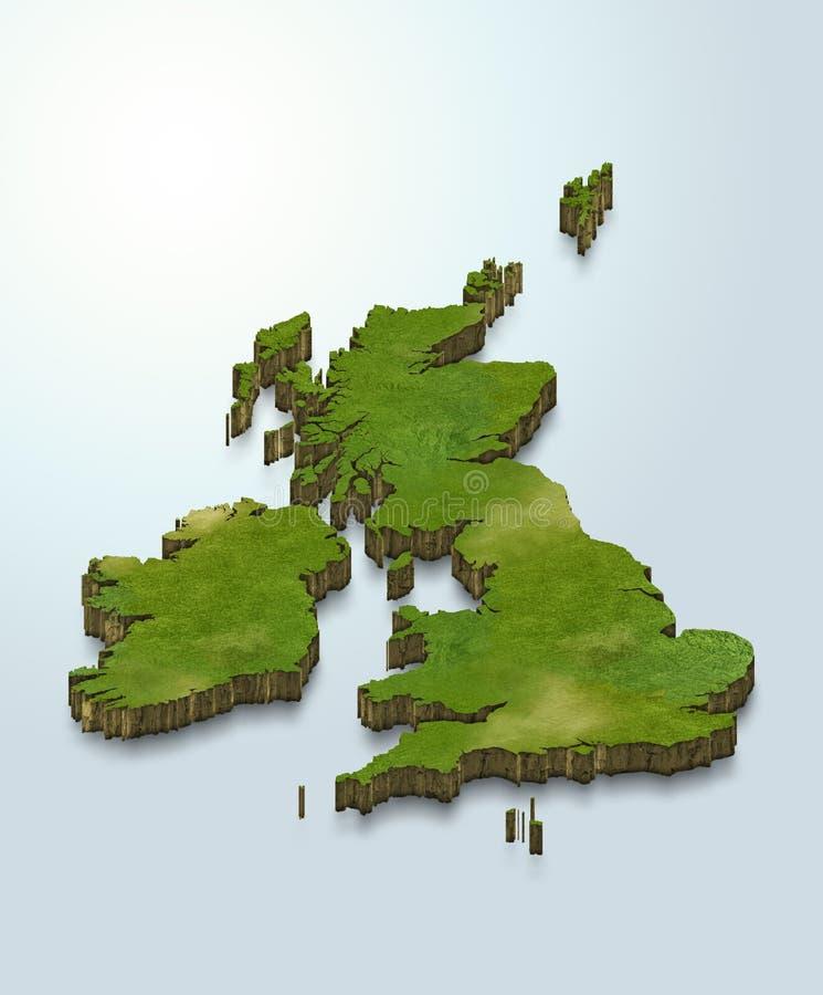 El mapa de Reino Unido es verde en un fondo azul 3d stock de ilustración
