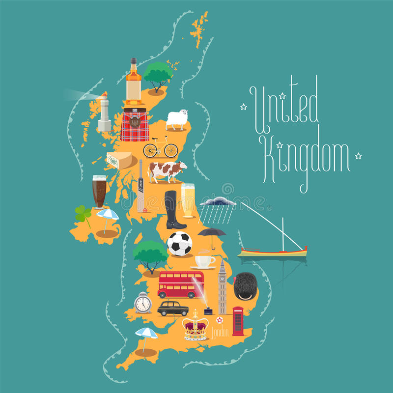 El mapa de Reino Unido, Gran Bretaña con Escocia e Irlanda vector el ejemplo ilustración del vector