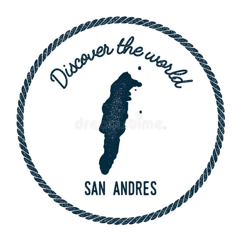 El mapa de San Andres en vintage descubre el mundo libre illustration