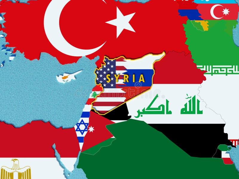 El mapa de Siria dividió con los E.E.U.U. y las banderas de Rusia con los países circundantes - 3D rinden stock de ilustración