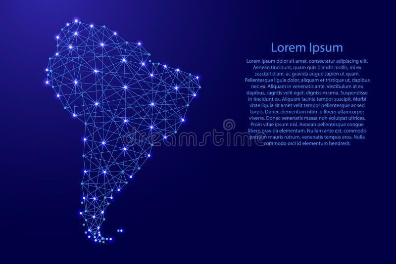 El mapa de Suramérica de líneas azules poligonales, brillando intensamente protagoniza el ejemplo stock de ilustración