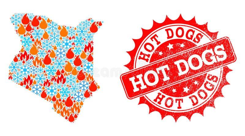 El mapa del collage de Kenia de la llama y los copos de nieve y los perritos calientes apenan el sello ilustración del vector