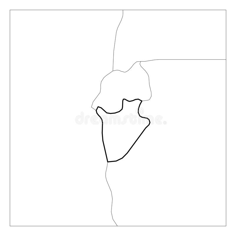 El mapa del esquema grueso del negro de Burundi destacó con los países vecinos libre illustration