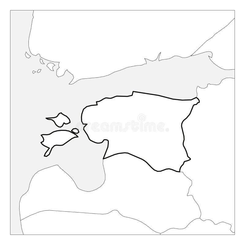 El mapa del esquema grueso del negro de Estonia destacó con los países vecinos ilustración del vector