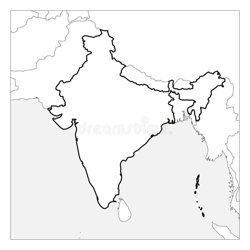 El mapa del esquema grueso del negro de la India destacó con los países vecinos libre illustration
