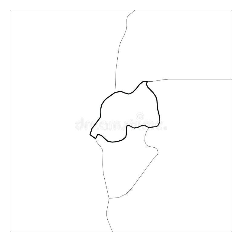 El mapa del esquema grueso del negro de Rwanda destacó con los países vecinos libre illustration