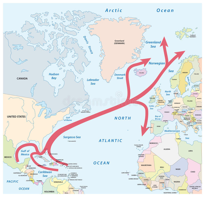 El mapa del golfo y Atlántico Norte fluyen en el Océano Atlántico libre illustration