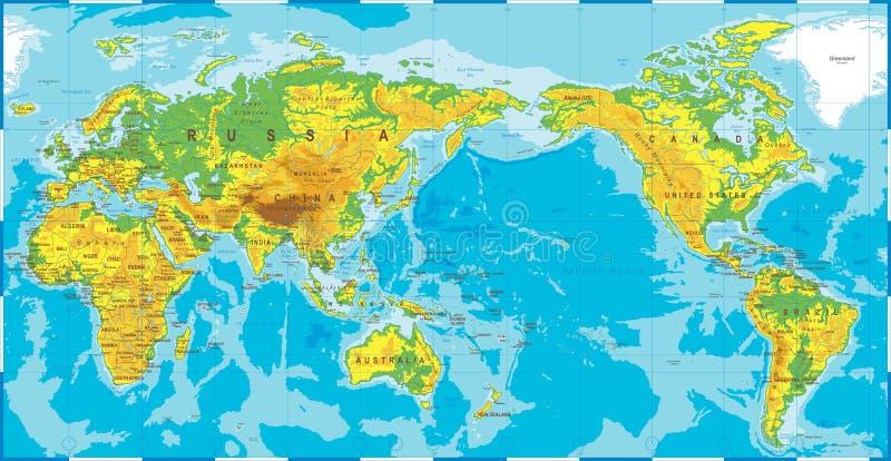 El mapa del mundo coloreado topográfico físico político el Pacífico se centró ilustración del vector