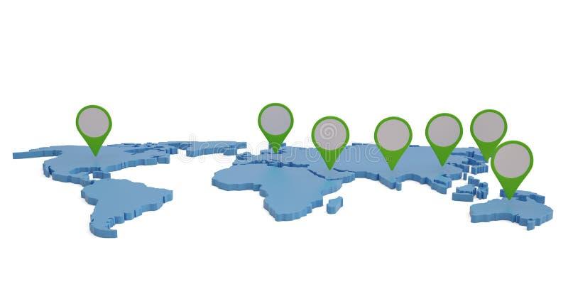 El mapa del mundo con el indicador marca illustrati del concepto 3D de la comunicación libre illustration