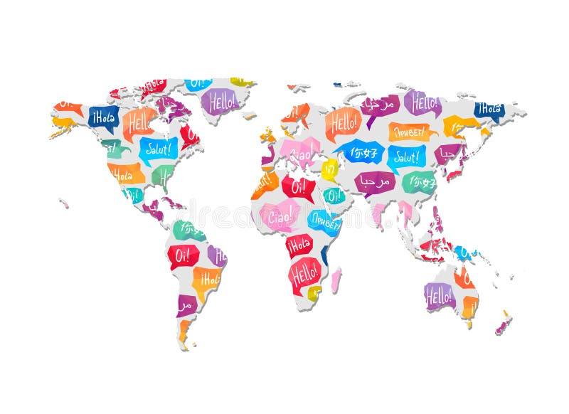 El mapa del mundo con el modelo del discurso burbujea con palabra hola ilustración del vector