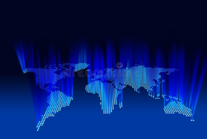 El mapa del mundo de la emisión se enciende según lo visto del espacio, 3d foto de archivo