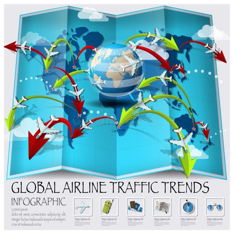 El mapa del mundo del tráfico global de la línea aérea tiende Infographic ilustración del vector