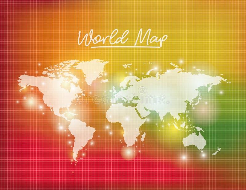 El mapa del mundo en el fondo blanco del color y de la rejilla degradó a amarillo y verde rojos ilustración del vector