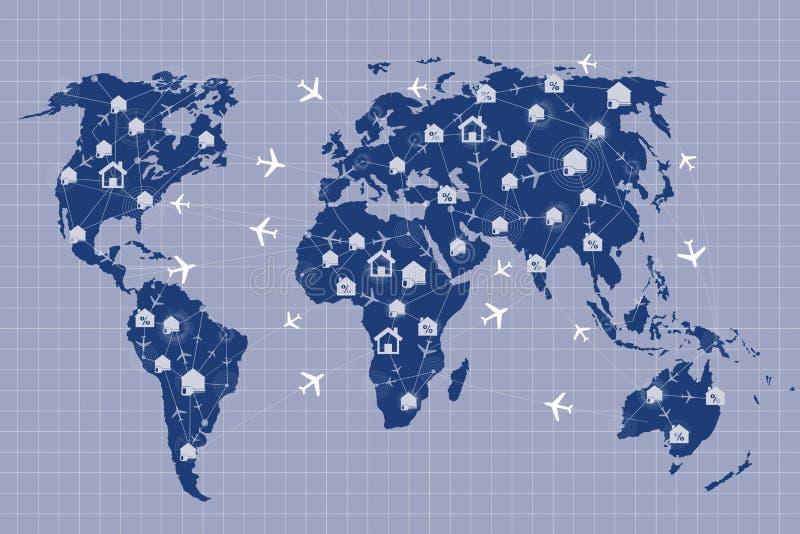 El mapa del mundo en hotel y concepto de la reservación del vuelo libre illustration
