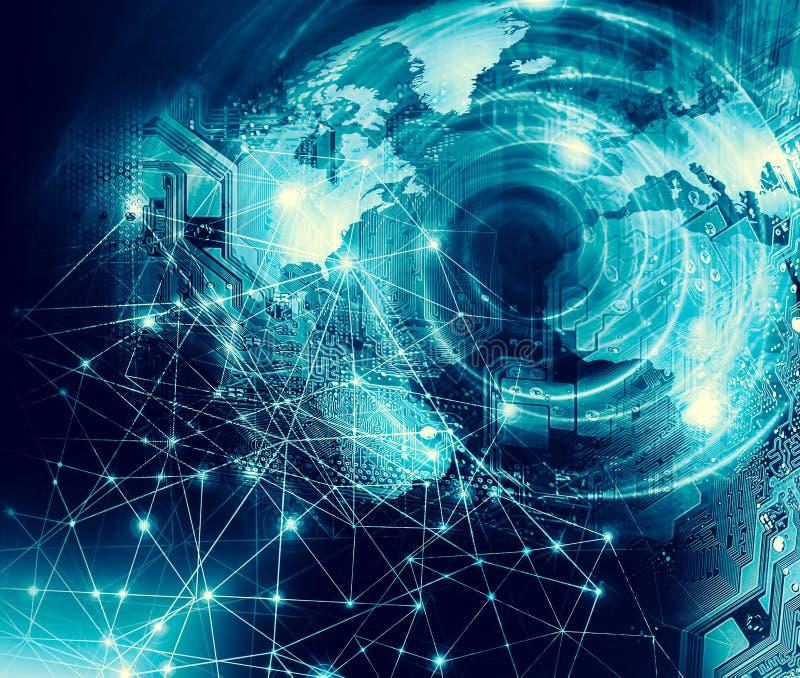 El mapa del mundo en un fondo tecnológico, brillando intensamente alinea los símbolos de Internet, de la radio, de la televisión, ilustración del vector