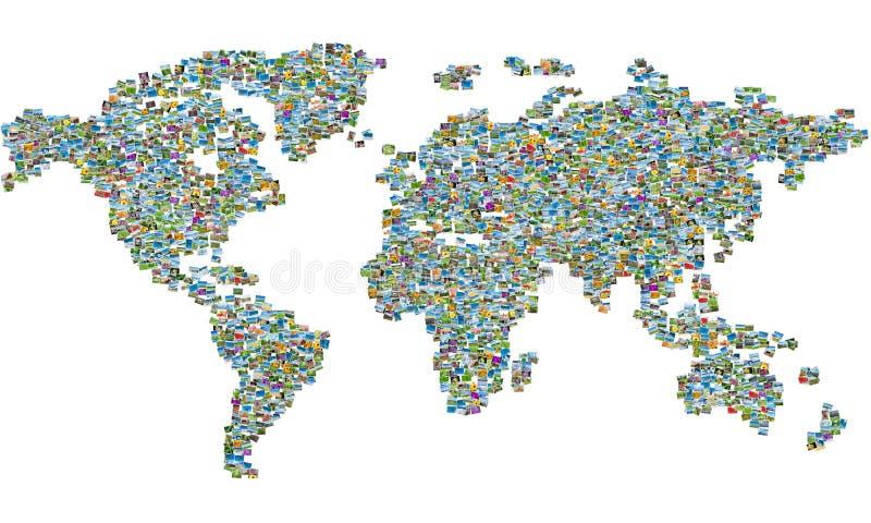 El mapa del mundo hecho de las fotos de la naturaleza fotografía de archivo libre de regalías
