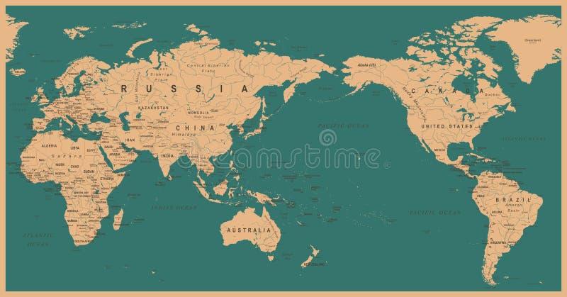 El mapa del mundo político el Pacífico del vintage se centró stock de ilustración
