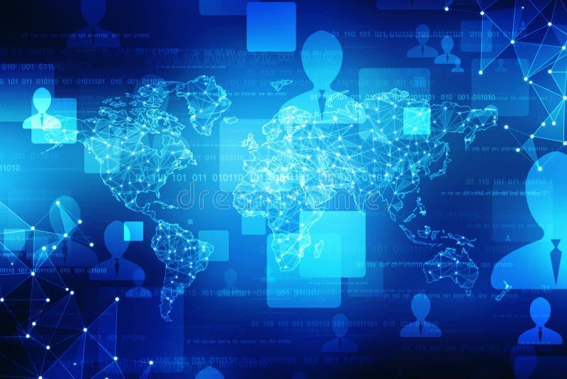 El mapa del mundo y el blockchain miran para mirar red, concepto de la red global stock de ilustración