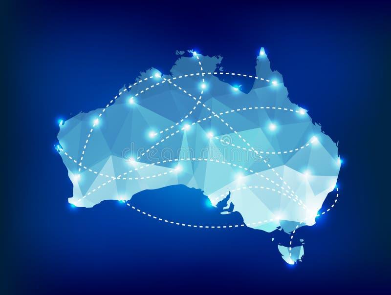 El mapa del país de Australia poligonal con el punto enciende p ilustración del vector