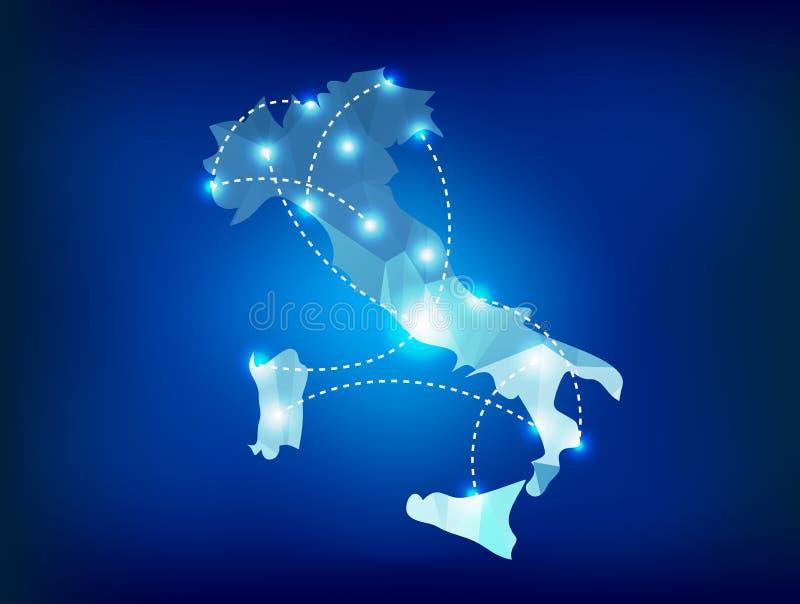 El mapa del país de Italia poligonal con el punto enciende el lugar stock de ilustración