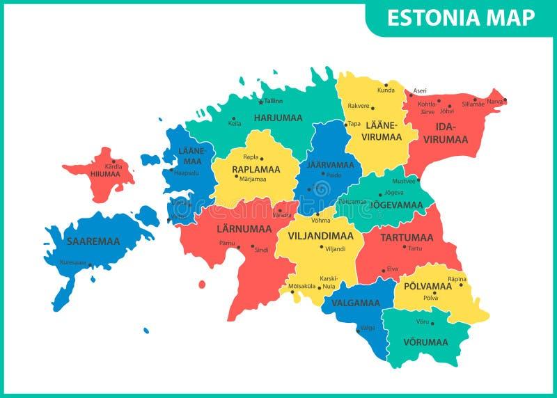 El mapa detallado de Estonia con las regiones o estados y ciudades, capital División administrativa ilustración del vector