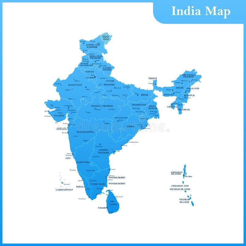 El mapa detallado de la India con regiones y Sri Lanka libre illustration