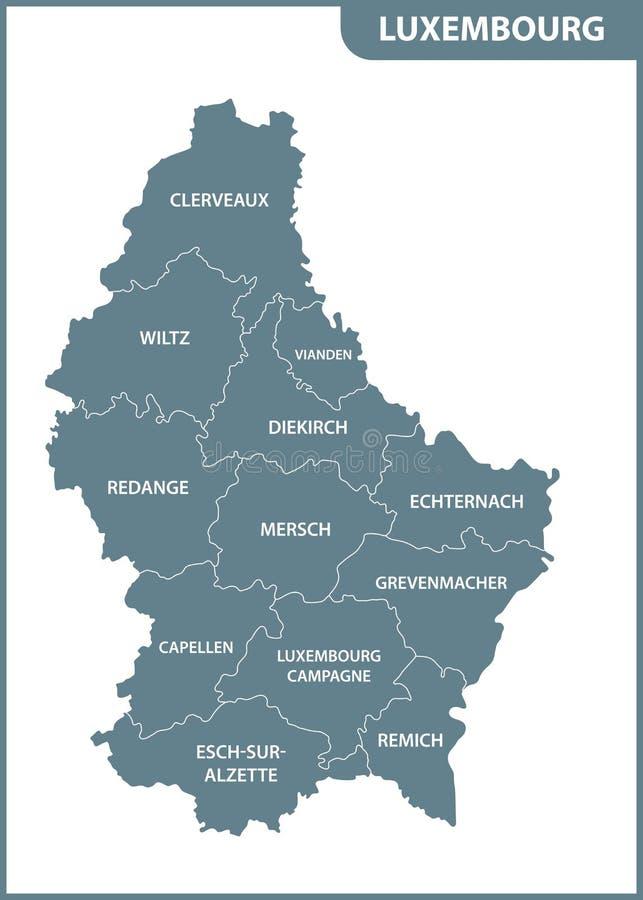 El mapa detallado del Luxemburgo con regiones o estados ilustración del vector