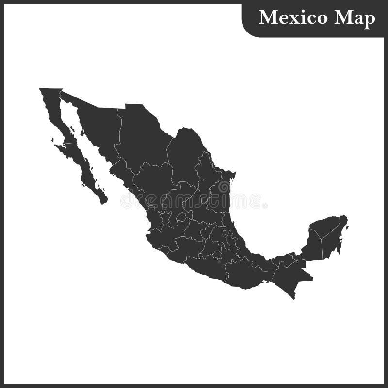 El mapa detallado del México con regiones ilustración del vector