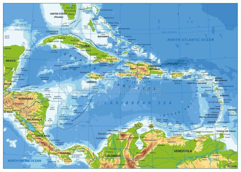 El mapa físico del Caribe stock de ilustración