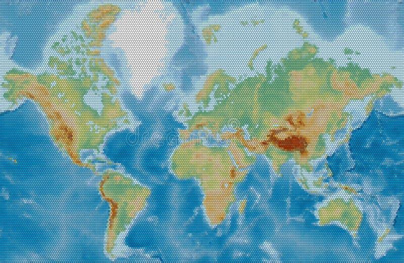 El mapa físico del vector del mundo estilizó usando círculos en una parte posterior del negro libre illustration