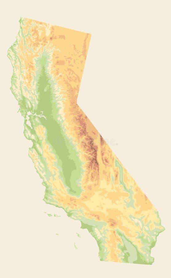 El mapa físico Vinatge de California colorea - el mapa en blanco ilustración del vector