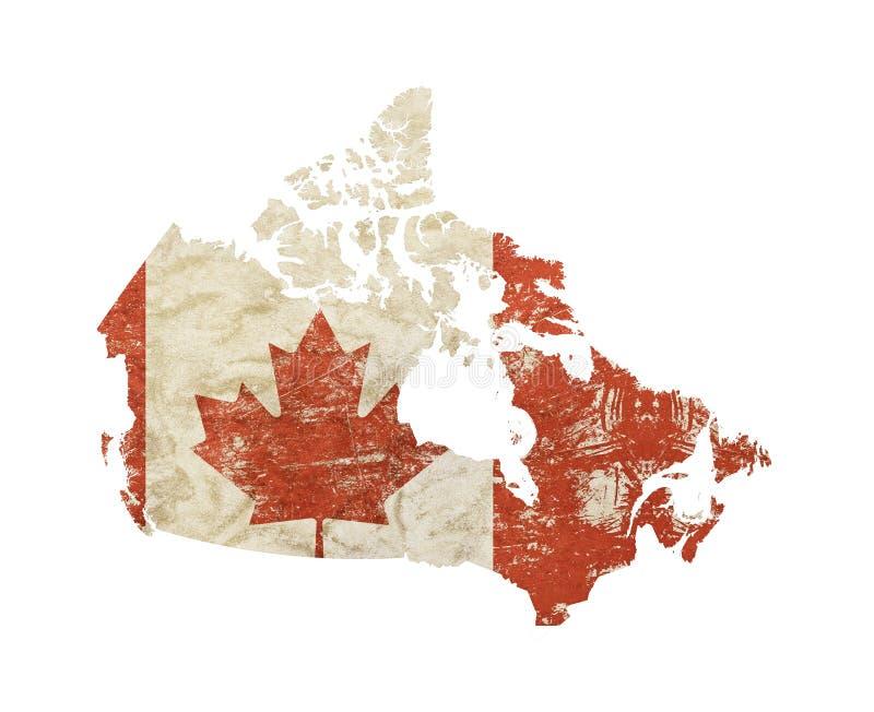 El mapa formó la bandera vieja del vintage del grunge de Canadá ilustración del vector