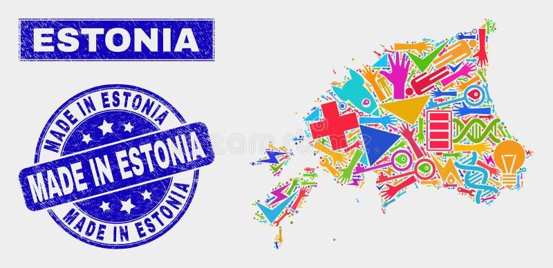El mapa industrial de Estonia del collage y rasguñó hecho en sello del sello de Estonia stock de ilustración