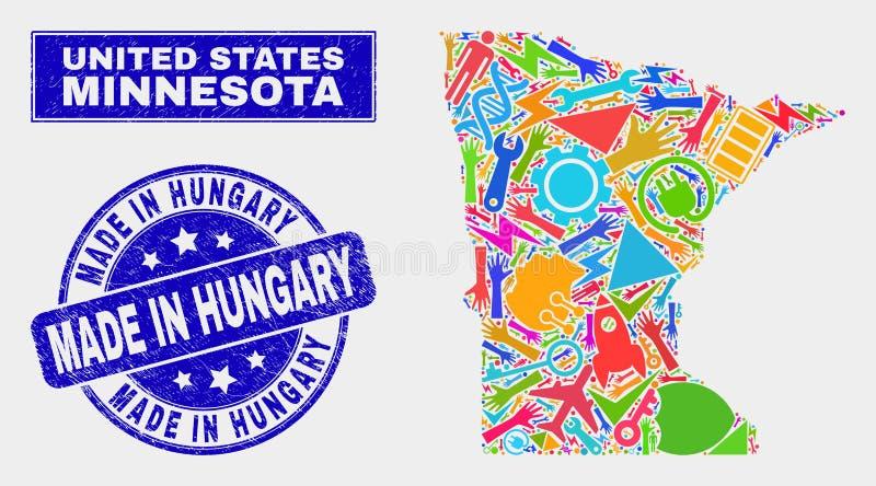 El mapa industrial del estado de Minnesota del mosaico y rasguñó hecho en el sello de Hungría libre illustration