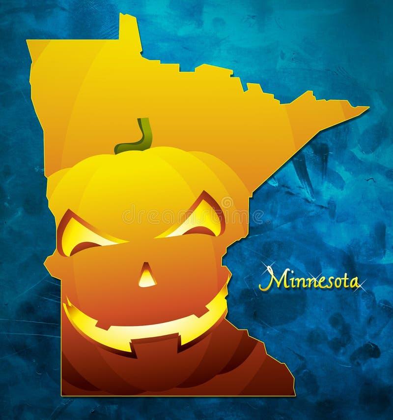 El mapa los E.E.U.U. del estado de Minnesota con la calabaza de Halloween hace frente al ejemplo ilustración del vector