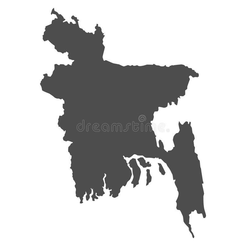 El mapa negro de Bangladesh aisló en el fondo blanco, geografía del mundo del ejemplo del vector ilustración del vector