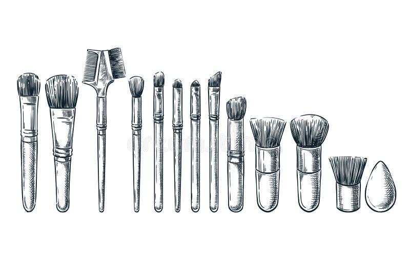 El maquillaje cepilla el ejemplo del bosquejo Elementos femeninos del diseño de los cosméticos Herramientas aisladas dibujadas ma ilustración del vector