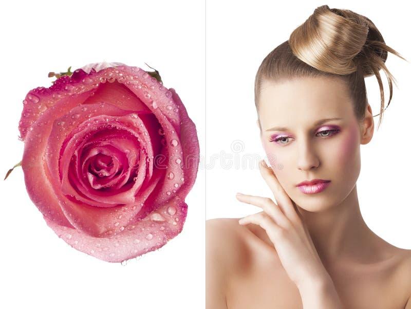 El maquillaje floral, ella está triste imágenes de archivo libres de regalías