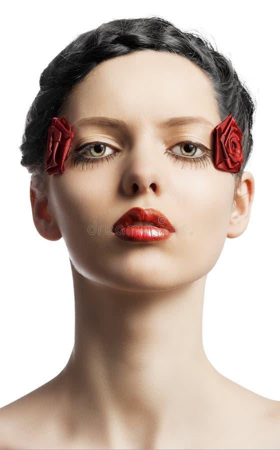 El maquillaje floral, la dan vuelta de tres cuartos imagen de archivo