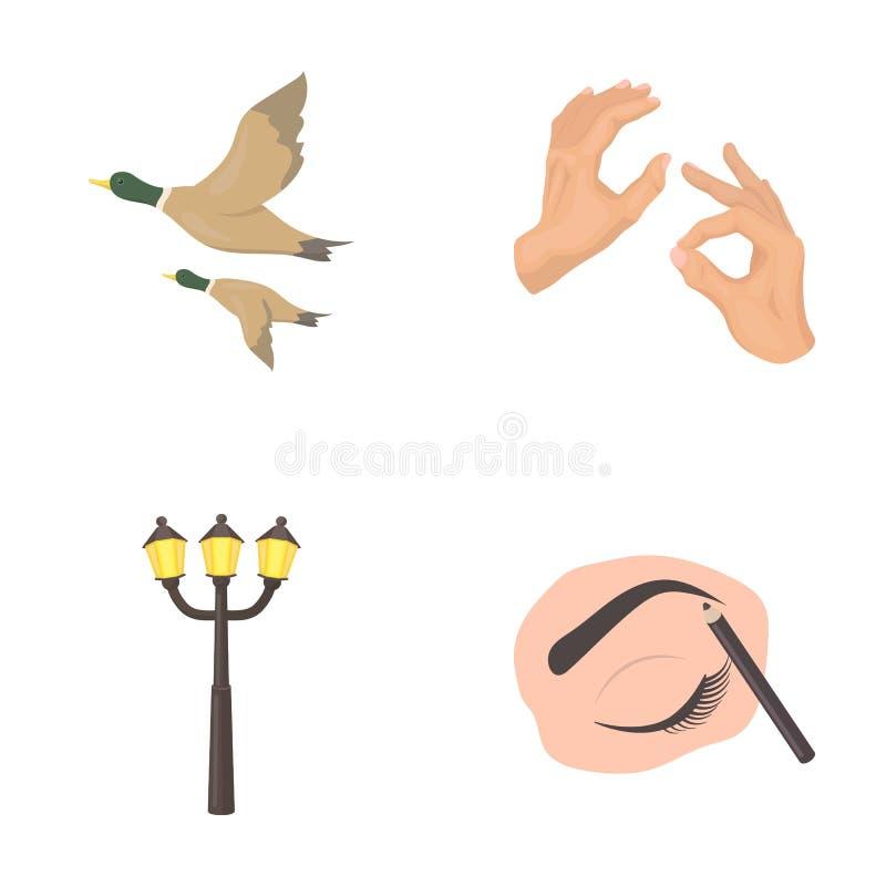 El maquillaje, la cosmetología, el negocio y el otro icono del web en estilo de la historieta dibuje a lápiz, observe, los iconos stock de ilustración