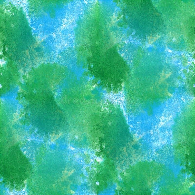 El mar abstracto del agua de la pintura agita arte pintado a mano del fondo de la textura inconsútil de la acuarela del verde azu ilustración del vector