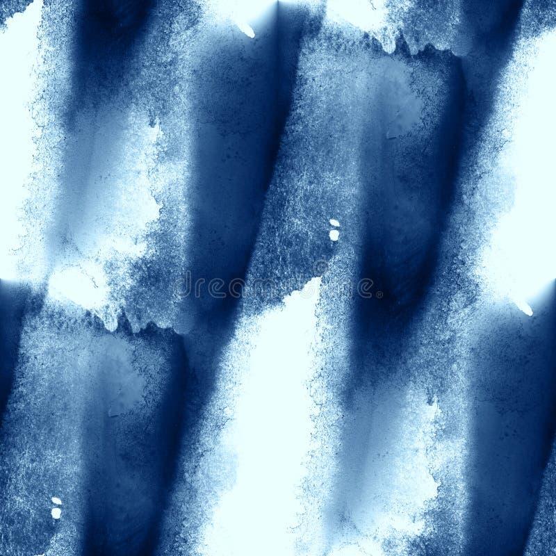 El mar azul colorido del agua del modelo agita el fondo pintado a mano de la acuarela del arte de la textura inconsútil abstracta ilustración del vector