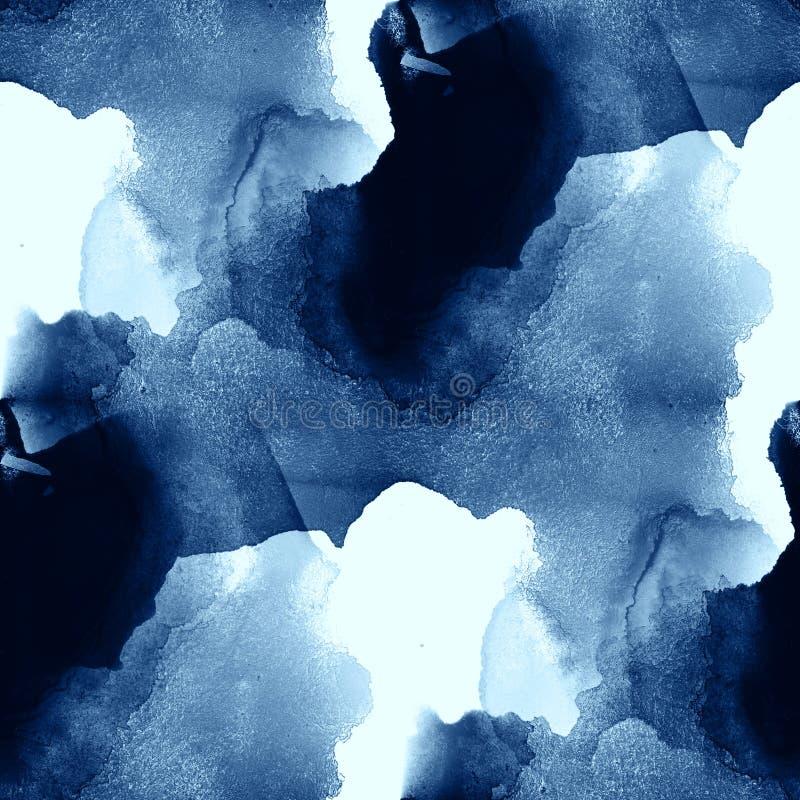 El mar colorido del arte del modelo del agua agita el fondo pintado a mano de la acuarela de la textura inconsútil abstracta azul libre illustration