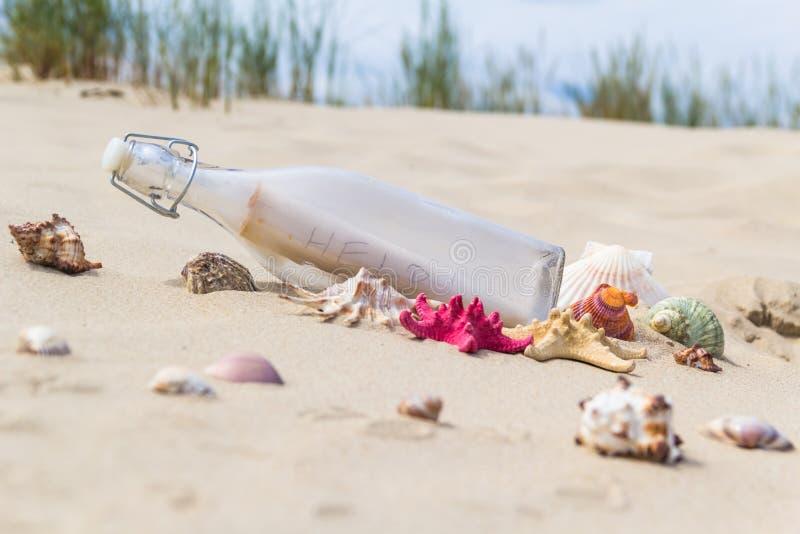 El mar colorido descasca el fondo de la botella fotos de archivo libres de regalías