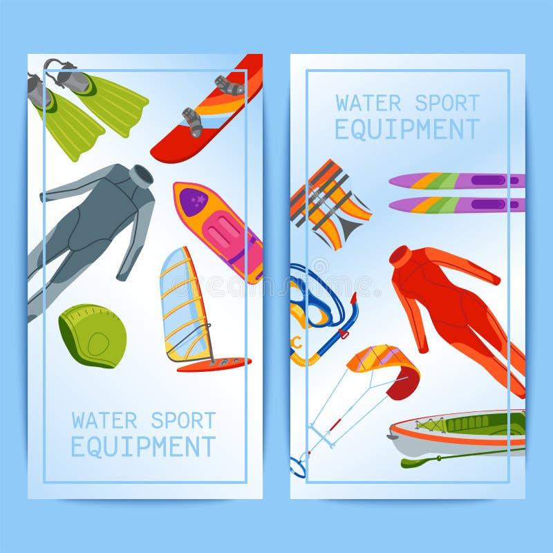 El mar de la playa del agua del verano se divierte el ejemplo del vector de las actividades de las banderas Windsurf activo del w libre illustration