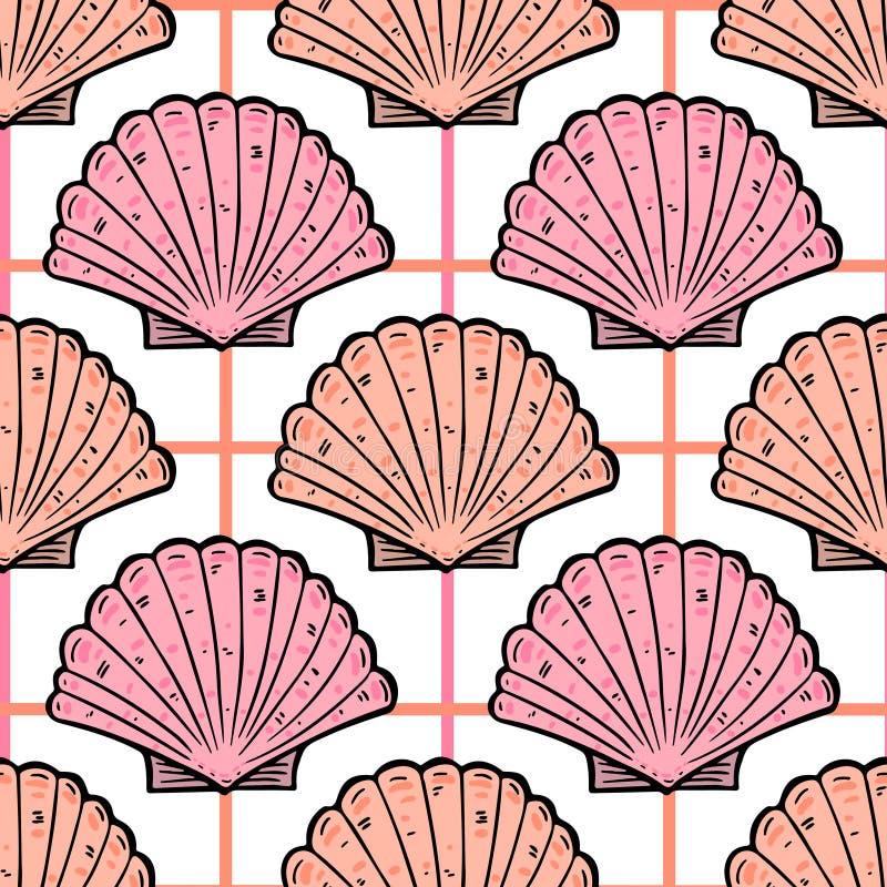 El mar descasca el modelo inconsútil del vintage Fondo del infante de marina del vector Impresión de la materia textil libre illustration