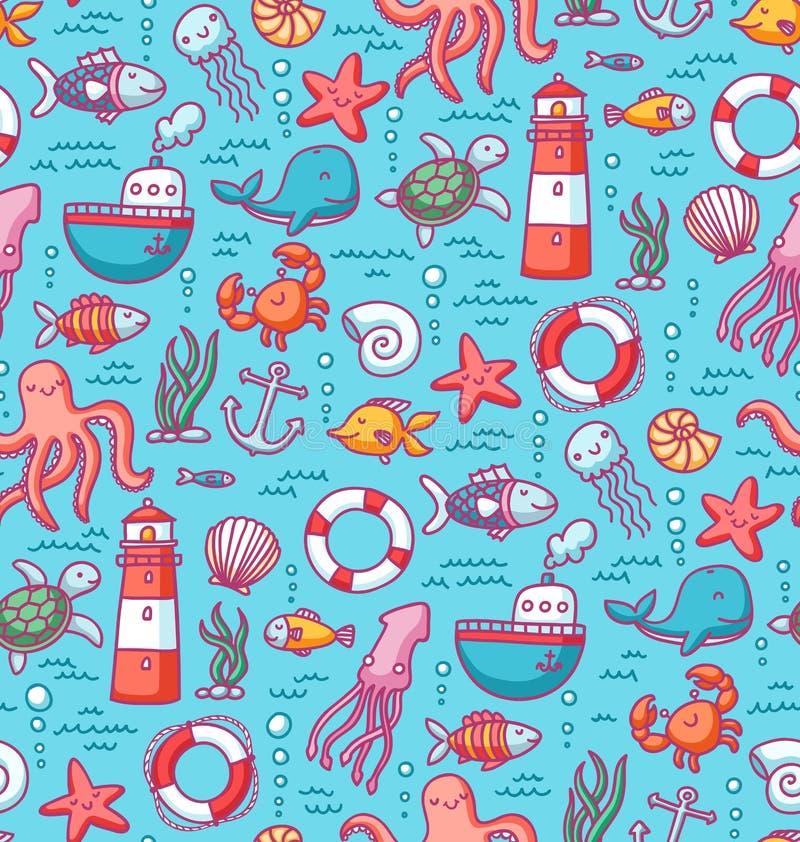 El mar garabatea el modelo del color libre illustration