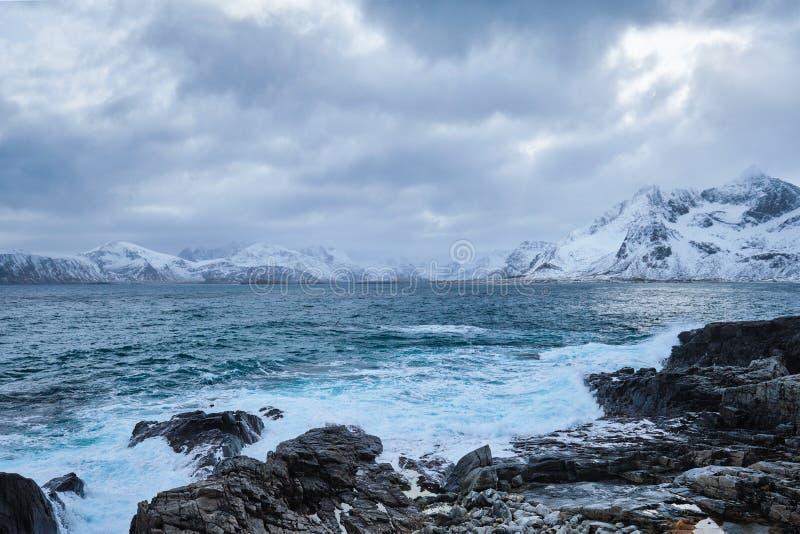 El mar noruego agita en la costa rocosa de las islas de Lofoten, Noruega imagen de archivo